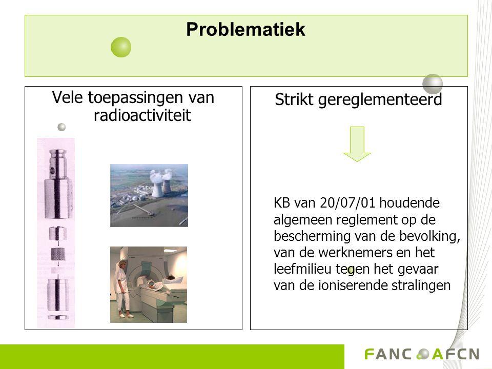 Problematiek Vele toepassingen van radioactiviteit Strikt gereglementeerd KB van 20/07/01 houdende algemeen reglement op de bescherming van de bevolki