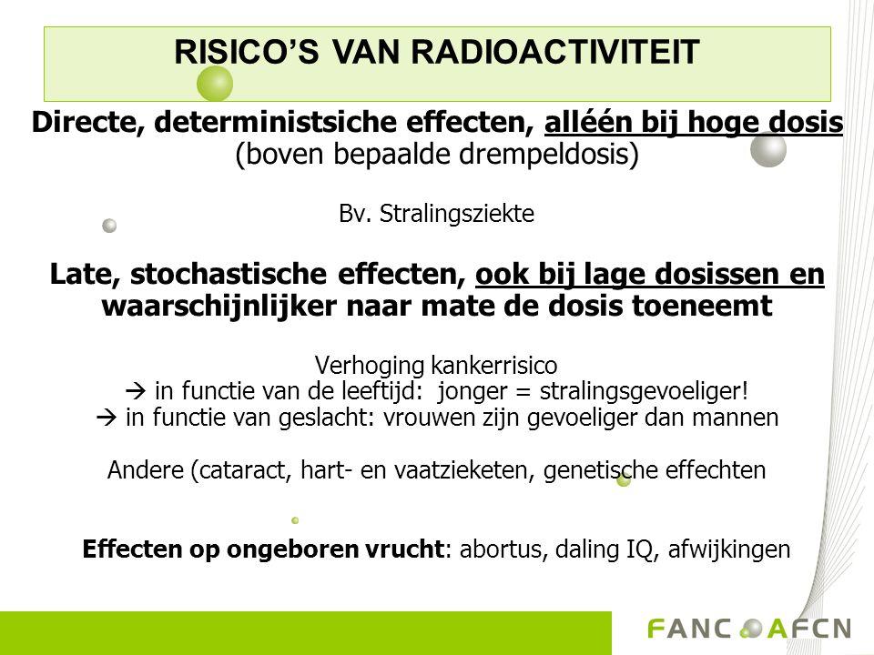 Directe, deterministsiche effecten, alléén bij hoge dosis (boven bepaalde drempeldosis) Bv. Stralingsziekte Late, stochastische effecten, ook bij lage
