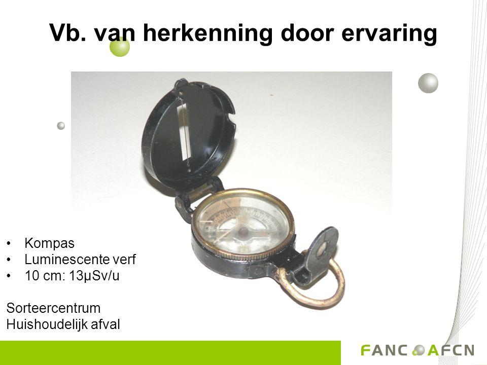 •Kompas •Luminescente verf •10 cm: 13µSv/u Sorteercentrum Huishoudelijk afval Vb. van herkenning door ervaring