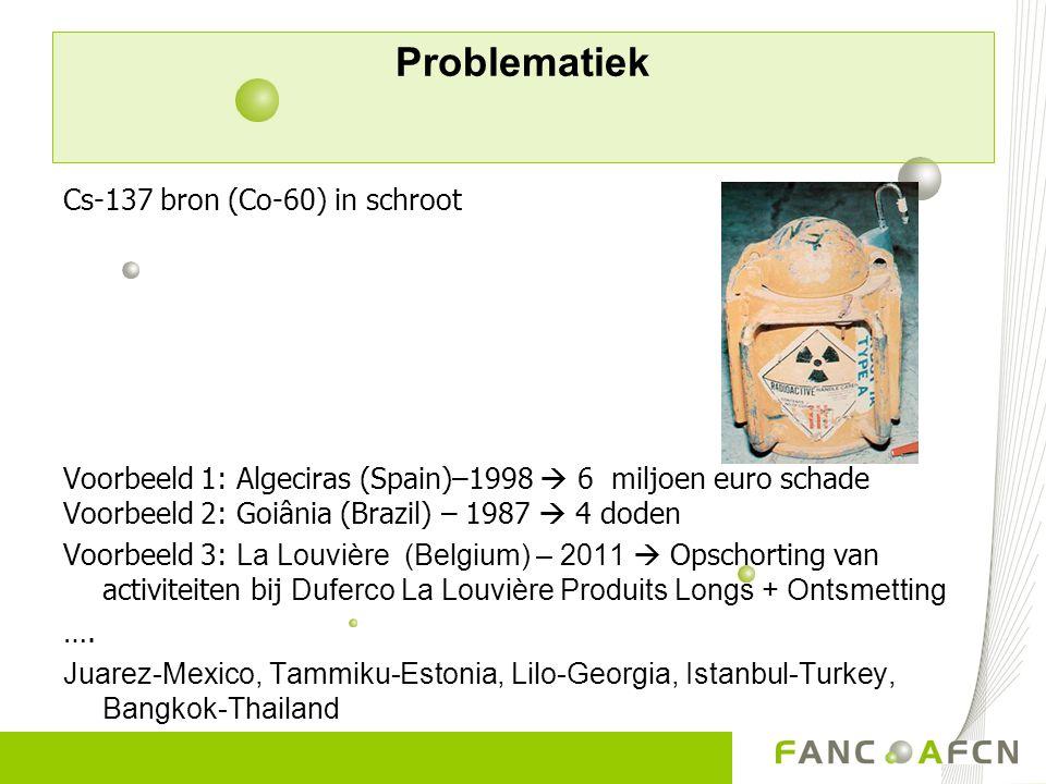 Problematiek Cs-137 bron (Co-60) in schroot Voorbeeld 1: Algeciras (Spain)–1998  6 miljoen euro schade Voorbeeld 2: Goiânia (Brazil) – 1987  4 doden