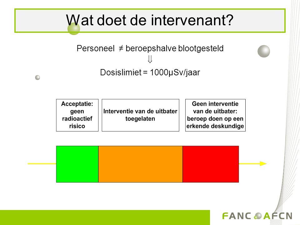 Personeel ≠ beroepshalve blootgesteld  Dosislimiet = 1000µSv/jaar Wat doet de intervenant?