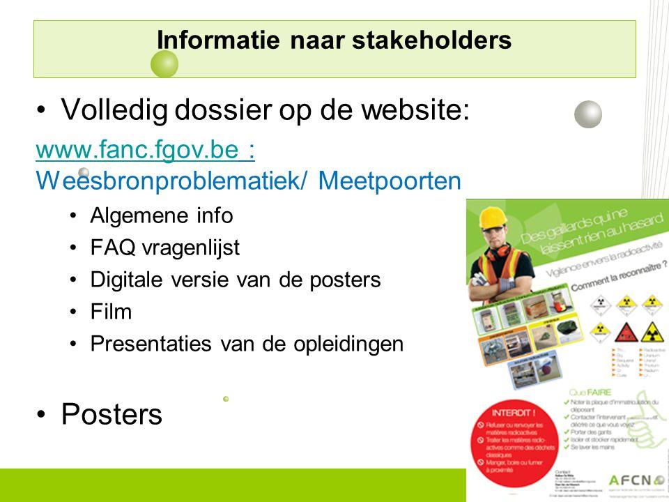 •Volledig dossier op de website: www.fanc.fgov.bewww.fanc.fgov.be : Weesbronproblematiek/ Meetpoorten •Algemene info •FAQ vragenlijst •Digitale versie