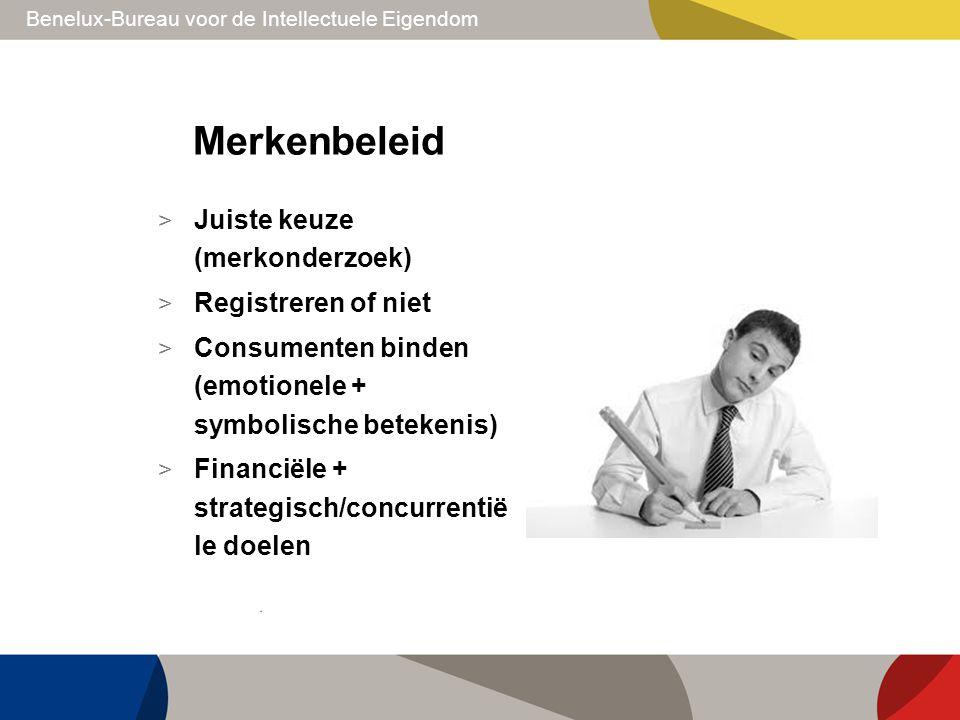 Merkenbeleid > Juiste keuze (merkonderzoek) > Registreren of niet > Consumenten binden (emotionele + symbolische betekenis) > Financiële + strategisch