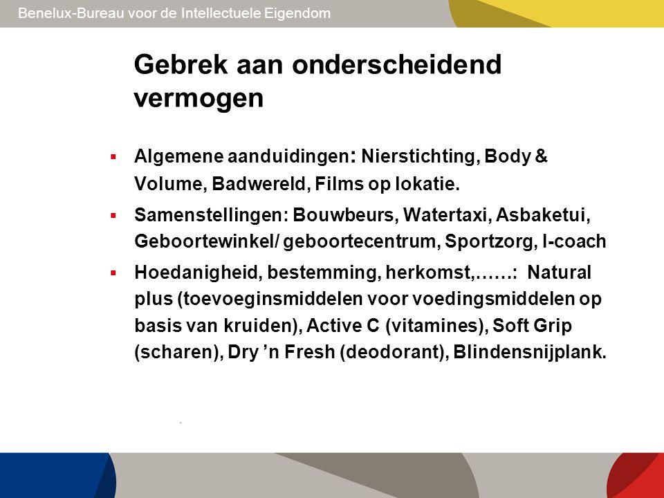 Benelux-Bureau voor de Intellectuele Eigendom Gebrek aan onderscheidend vermogen  Algemene aanduidingen : Nierstichting, Body & Volume, Badwereld, Fi