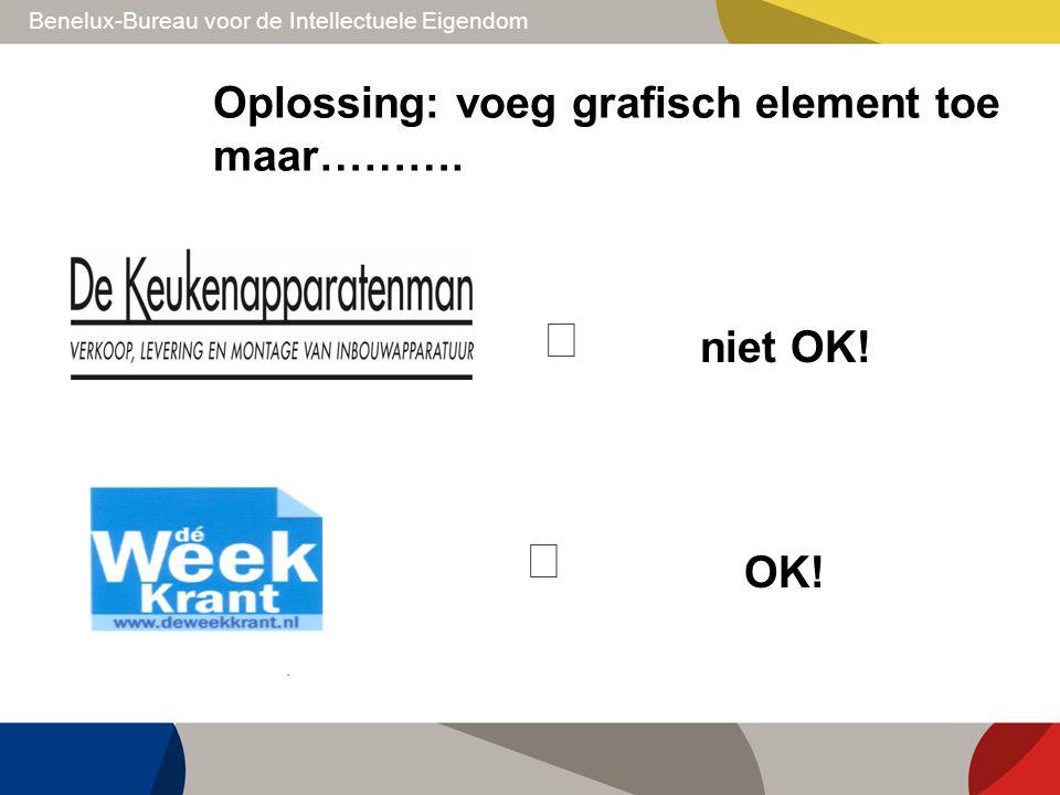 Benelux-Bureau voor de Intellectuele Eigendom Oplossing: voeg grafisch element toe maar……….  niet OK!  OK!