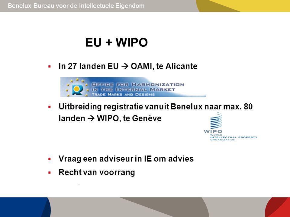 Benelux-Bureau voor de Intellectuele Eigendom EU + WIPO  In 27 landen EU  OAMI, te Alicante  Uitbreiding registratie vanuit Benelux naar max. 80 la