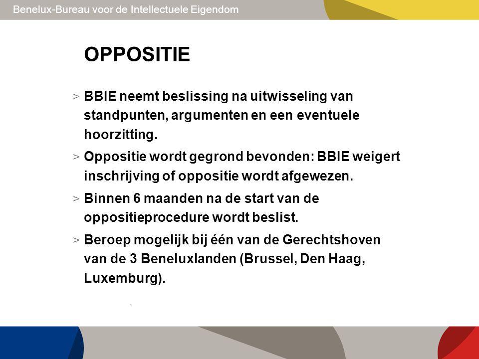 Benelux-Bureau voor de Intellectuele Eigendom OPPOSITIE > BBIE neemt beslissing na uitwisseling van standpunten, argumenten en een eventuele hoorzitti