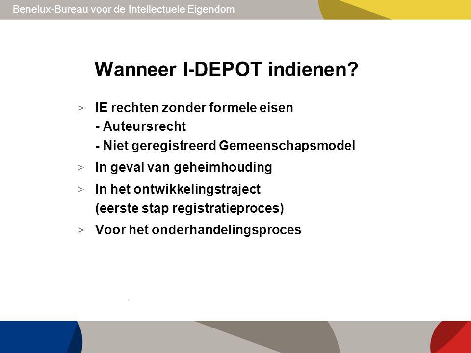 Benelux-Bureau voor de Intellectuele Eigendom Wanneer I-DEPOT indienen? > IE rechten zonder formele eisen - Auteursrecht - Niet geregistreerd Gemeensc