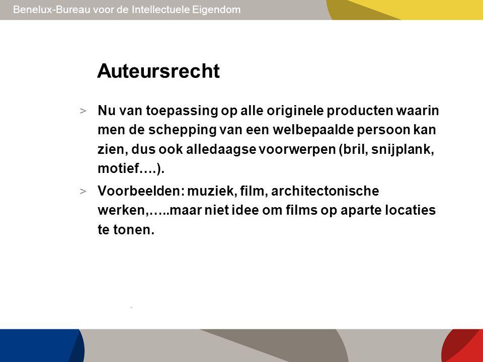 Benelux-Bureau voor de Intellectuele Eigendom Auteursrecht > Nu van toepassing op alle originele producten waarin men de schepping van een welbepaalde