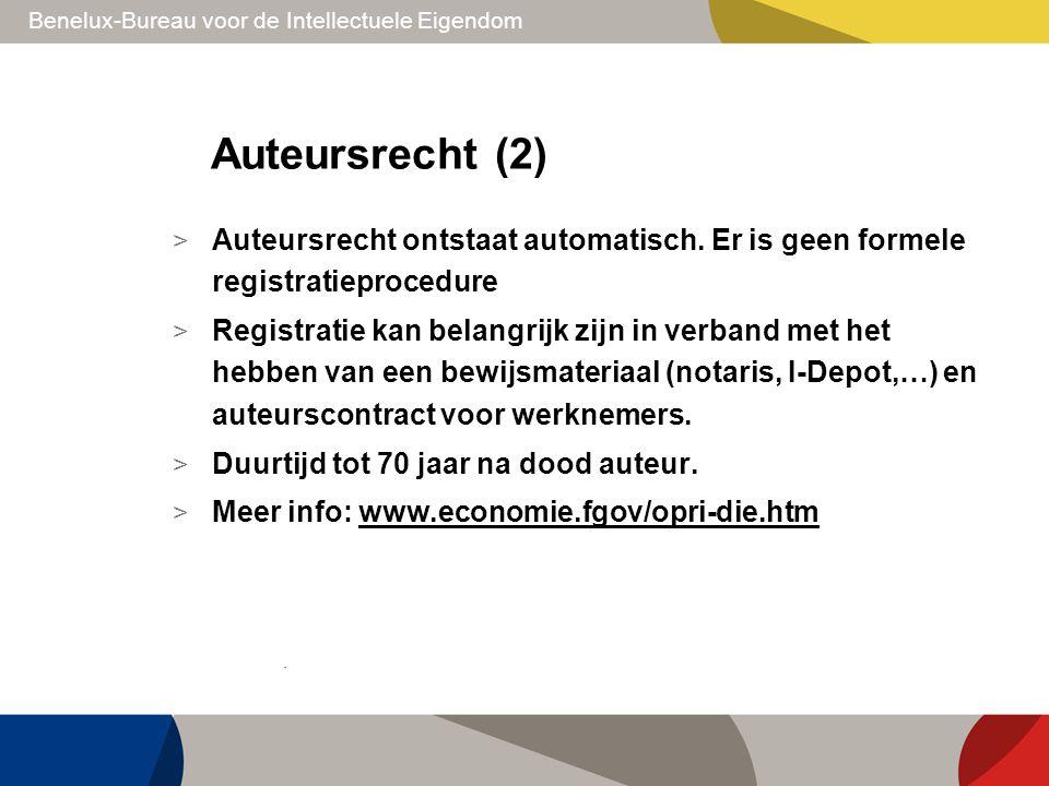 Benelux-Bureau voor de Intellectuele Eigendom Auteursrecht (2) > Auteursrecht ontstaat automatisch. Er is geen formele registratieprocedure > Registra