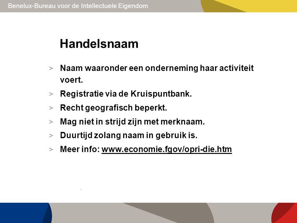 Benelux-Bureau voor de Intellectuele Eigendom Handelsnaam > Naam waaronder een onderneming haar activiteit voert. > Registratie via de Kruispuntbank.