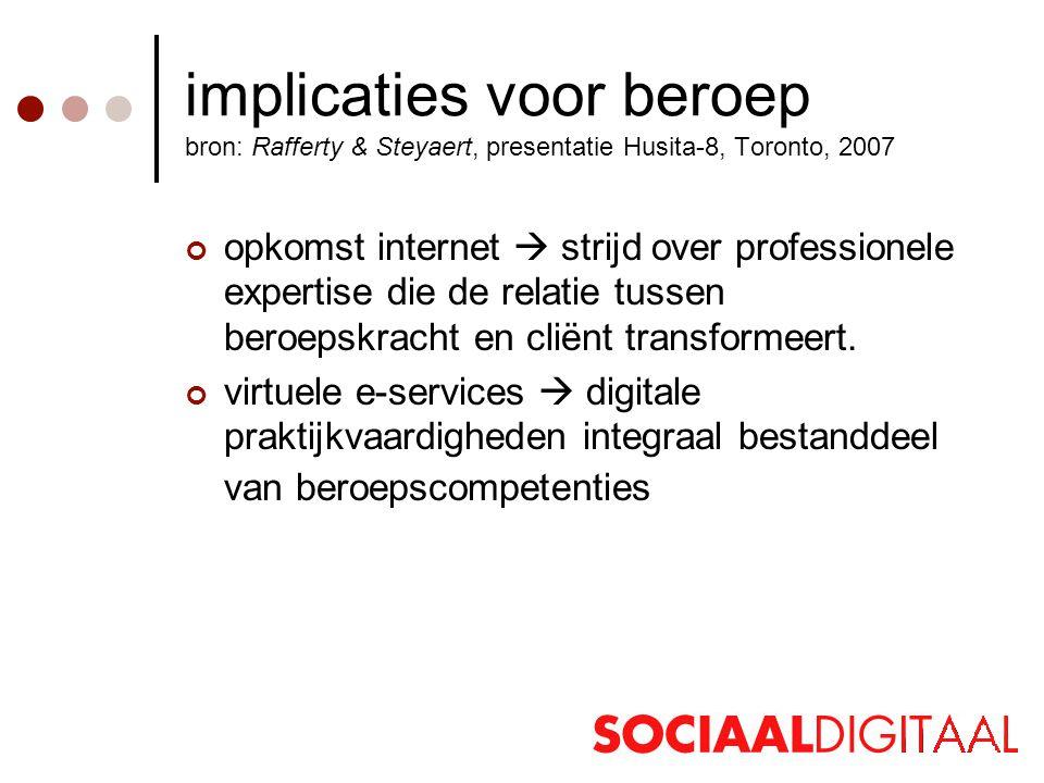 implicaties voor beroep bron: Rafferty & Steyaert, presentatie Husita-8, Toronto, 2007 opkomst internet  strijd over professionele expertise die de relatie tussen beroepskracht en cliënt transformeert.