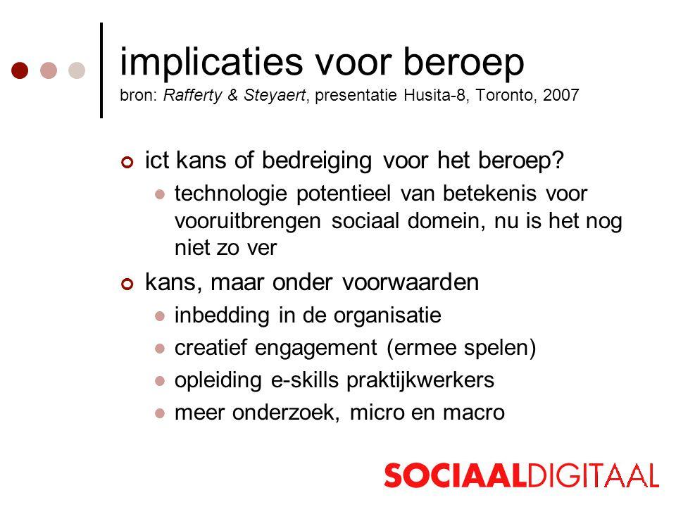 implicaties voor beroep bron: Rafferty & Steyaert, presentatie Husita-8, Toronto, 2007 ict kans of bedreiging voor het beroep.