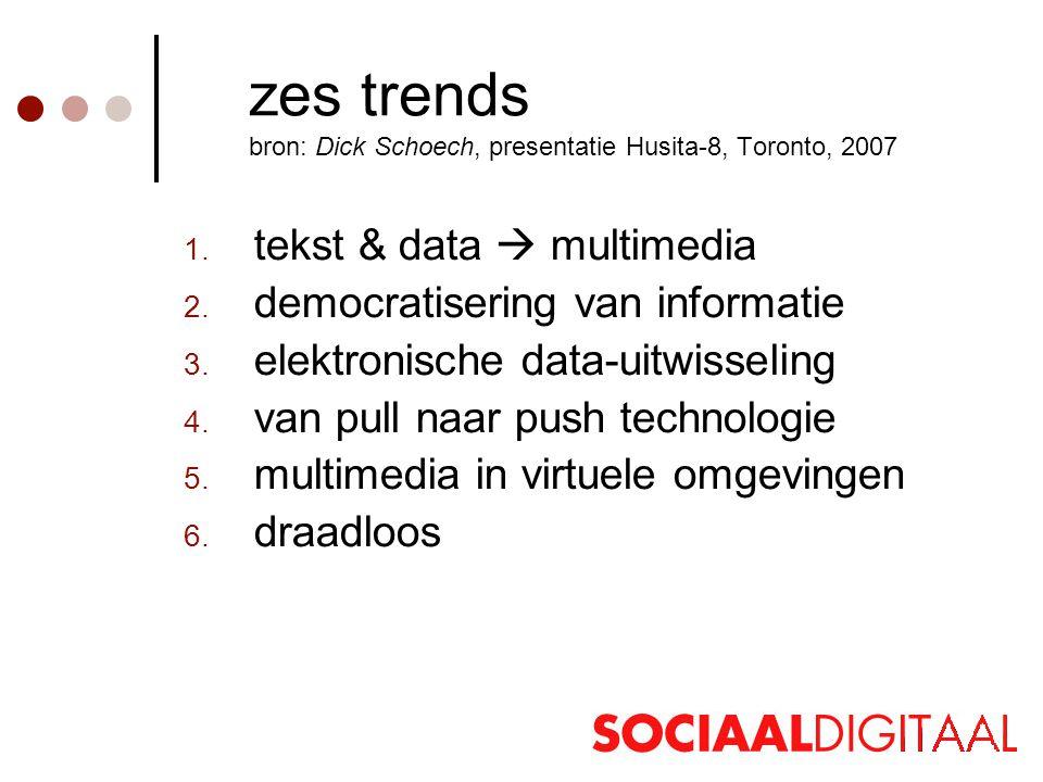 zes trends bron: Dick Schoech, presentatie Husita-8, Toronto, 2007 1.