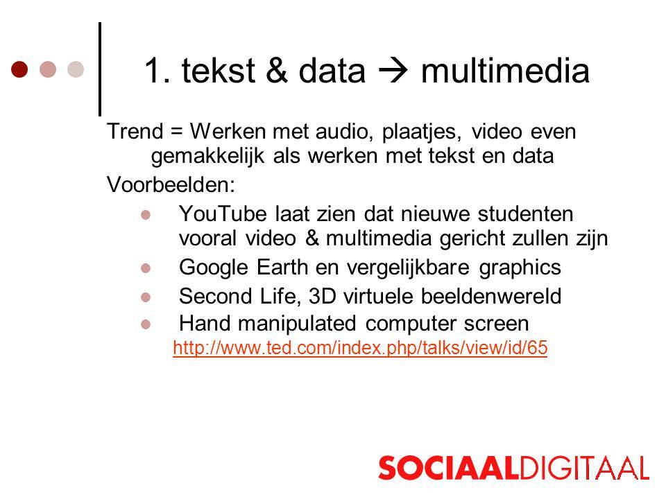 1. tekst & data  multimedia Trend = Werken met audio, plaatjes, video even gemakkelijk als werken met tekst en data Voorbeelden:  YouTube laat zien