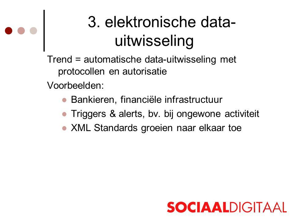 3. elektronische data- uitwisseling Trend = automatische data-uitwisseling met protocollen en autorisatie Voorbeelden:  Bankieren, financiële infrast