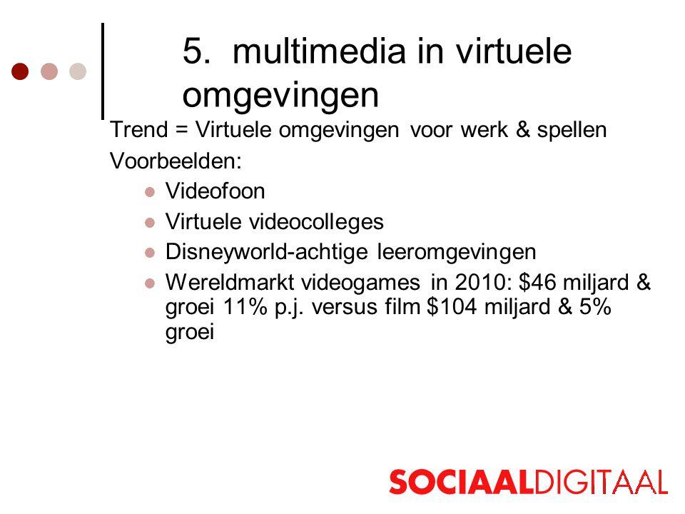 5. multimedia in virtuele omgevingen Trend = Virtuele omgevingen voor werk & spellen Voorbeelden:  Videofoon  Virtuele videocolleges  Disneyworld-a