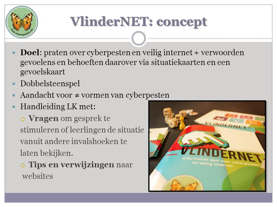 VlinderNET: concept  Doel: praten over cyberpesten en veilig internet + verwoorden gevoelens en behoeften daarover via situatiekaarten en een gevoels