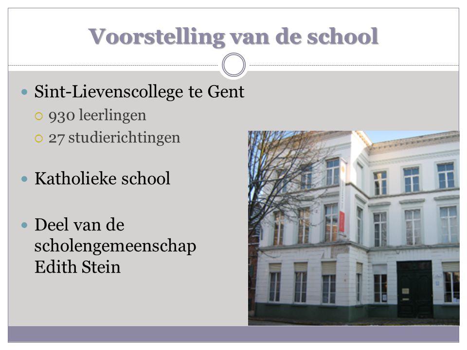 Voorstelling van de school  Sint-Lievenscollege te Gent  930 leerlingen  27 studierichtingen  Katholieke school  Deel van de scholengemeenschap E