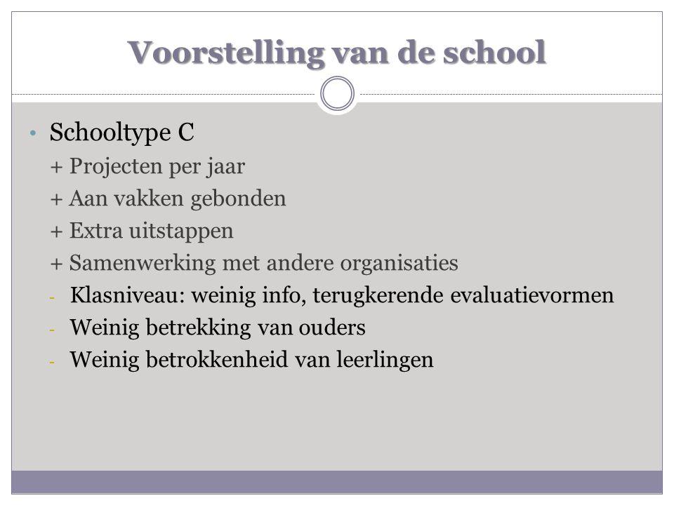 Voorstelling van de school • Schooltype C + Projecten per jaar + Aan vakken gebonden + Extra uitstappen + Samenwerking met andere organisaties - Klasn