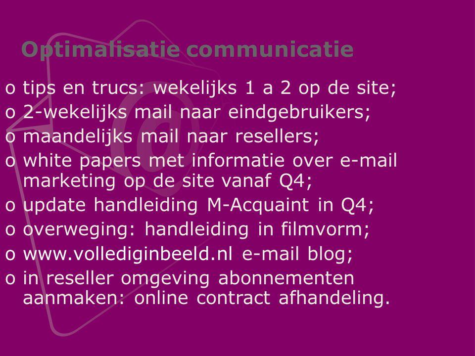 Optimalisatie communicatie otips en trucs: wekelijks 1 a 2 op de site; o2-wekelijks mail naar eindgebruikers; omaandelijks mail naar resellers; owhite papers met informatie over e-mail marketing op de site vanaf Q4; oupdate handleiding M-Acquaint in Q4; ooverweging: handleiding in filmvorm; owww.vollediginbeeld.nl e-mail blog; oin reseller omgeving abonnementen aanmaken: online contract afhandeling.