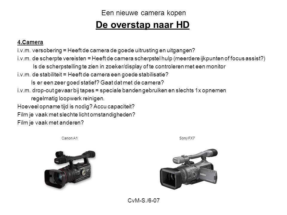 CvM-S./6-07 Een nieuwe camera kopen 4.Camera i.v.m. versobering = Heeft de camera de goede uitrusting en uitgangen? i.v.m. de scherpte vereisten = Hee