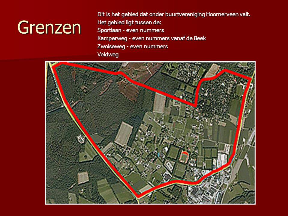 Grenzen Dit is het gebied dat onder buurtvereniging Hoornerveen valt. Het gebied ligt tussen de: Sportlaan - even nummers Kamperweg - even nummers van