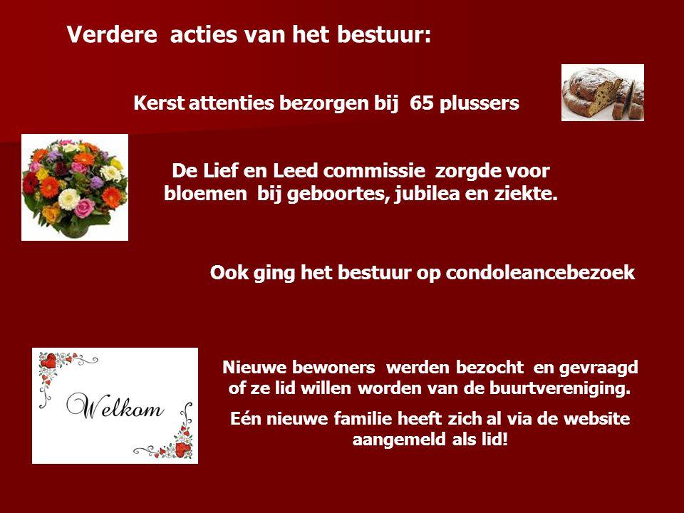 Verdere acties van het bestuur: Kerst attenties bezorgen bij 65 plussers De Lief en Leed commissie zorgde voor bloemen bij geboortes, jubilea en ziekt
