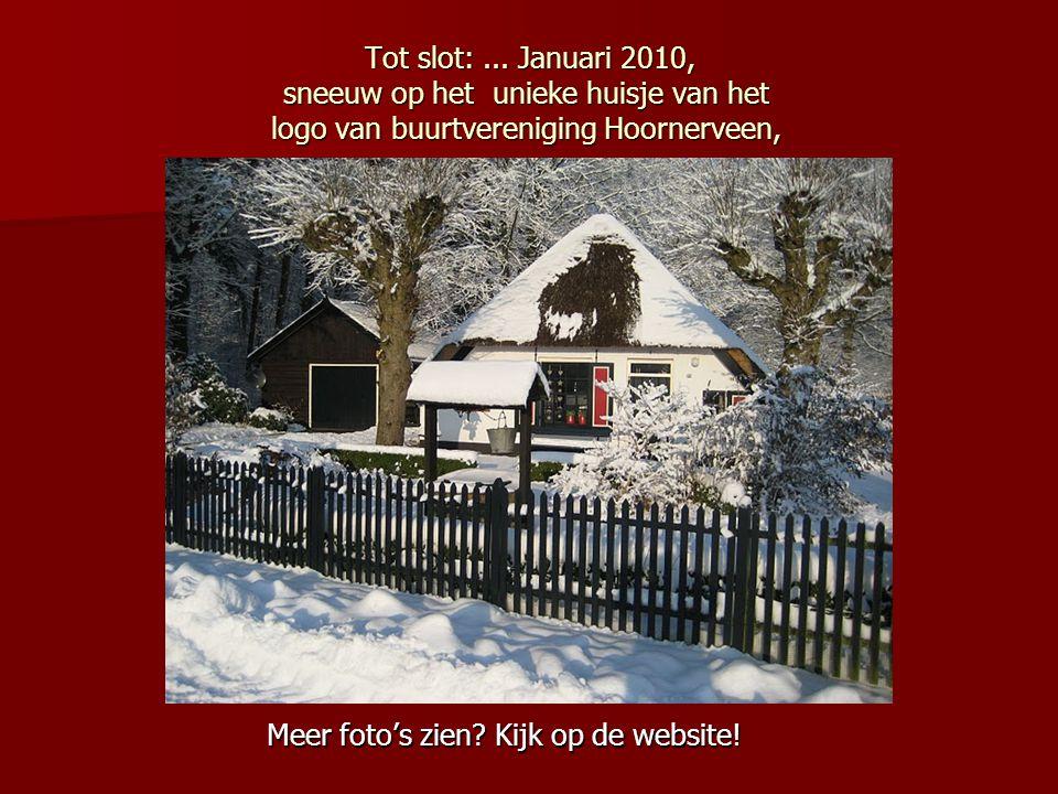 Tot slot:... Januari 2010, sneeuw op het unieke huisje van het logo van buurtvereniging Hoornerveen, Tot slot:... Januari 2010, sneeuw op het unieke h