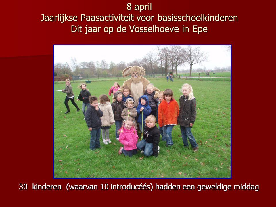 8 april Jaarlijkse Paasactiviteit voor basisschoolkinderen Dit jaar op de Vosselhoeve in Epe 30 kinderen (waarvan 10 introducéés) hadden een geweldige