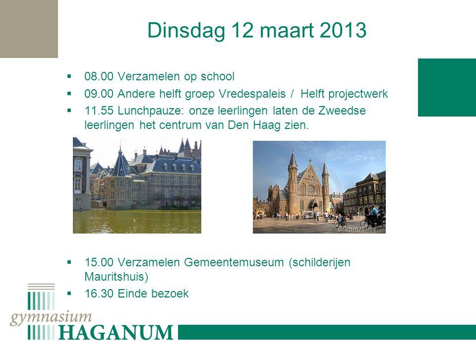 Dinsdag 12 maart 2013  08.00 Verzamelen op school  09.00 Andere helft groep Vredespaleis / Helft projectwerk  11.55 Lunchpauze: onze leerlingen laten de Zweedse leerlingen het centrum van Den Haag zien.