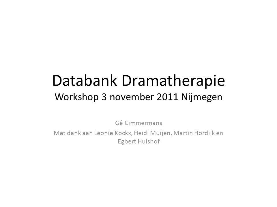 Databank Dramatherapie Workshop 3 november 2011 Nijmegen Gé Cimmermans Met dank aan Leonie Kockx, Heidi Muijen, Martin Hordijk en Egbert Hulshof