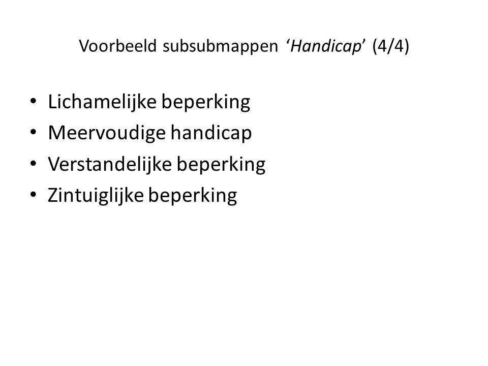Voorbeeld subsubmappen 'Handicap' (4/4) • Lichamelijke beperking • Meervoudige handicap • Verstandelijke beperking • Zintuiglijke beperking