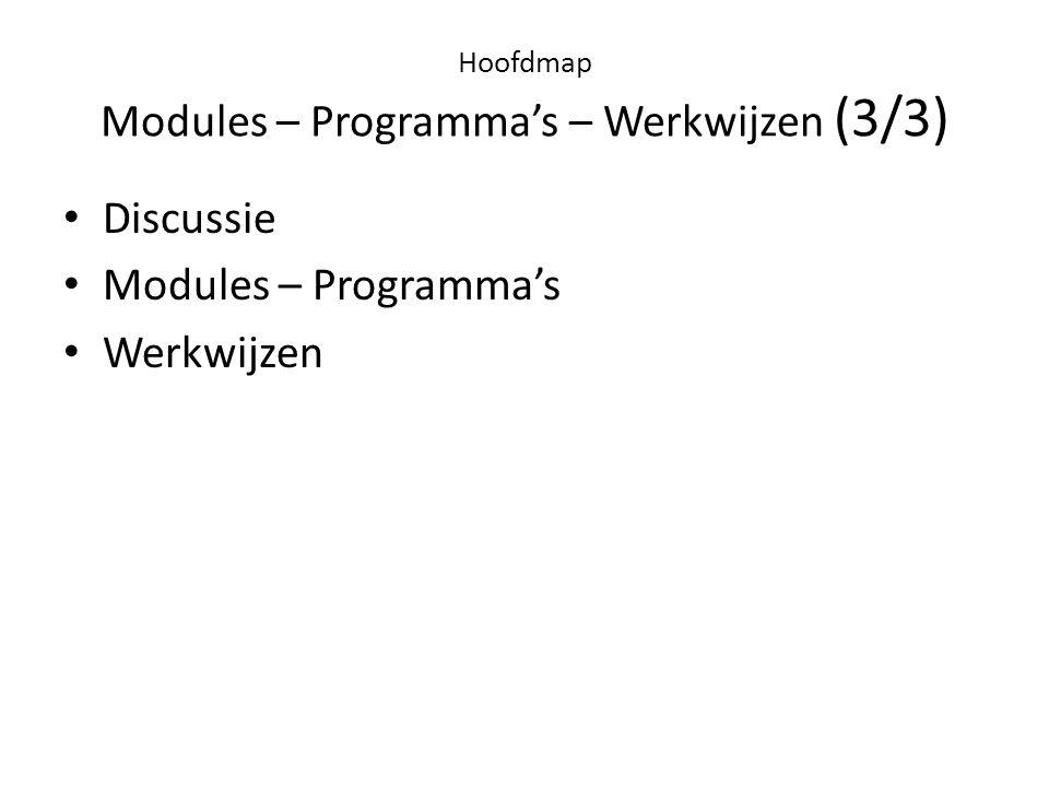Hoofdmap Modules – Programma's – Werkwijzen (3/3) • Discussie • Modules – Programma's • Werkwijzen