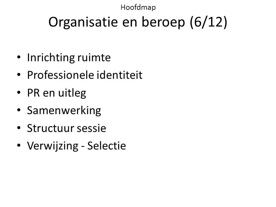 Hoofdmap Organisatie en beroep (6/12) • Inrichting ruimte • Professionele identiteit • PR en uitleg • Samenwerking • Structuur sessie • Verwijzing - Selectie