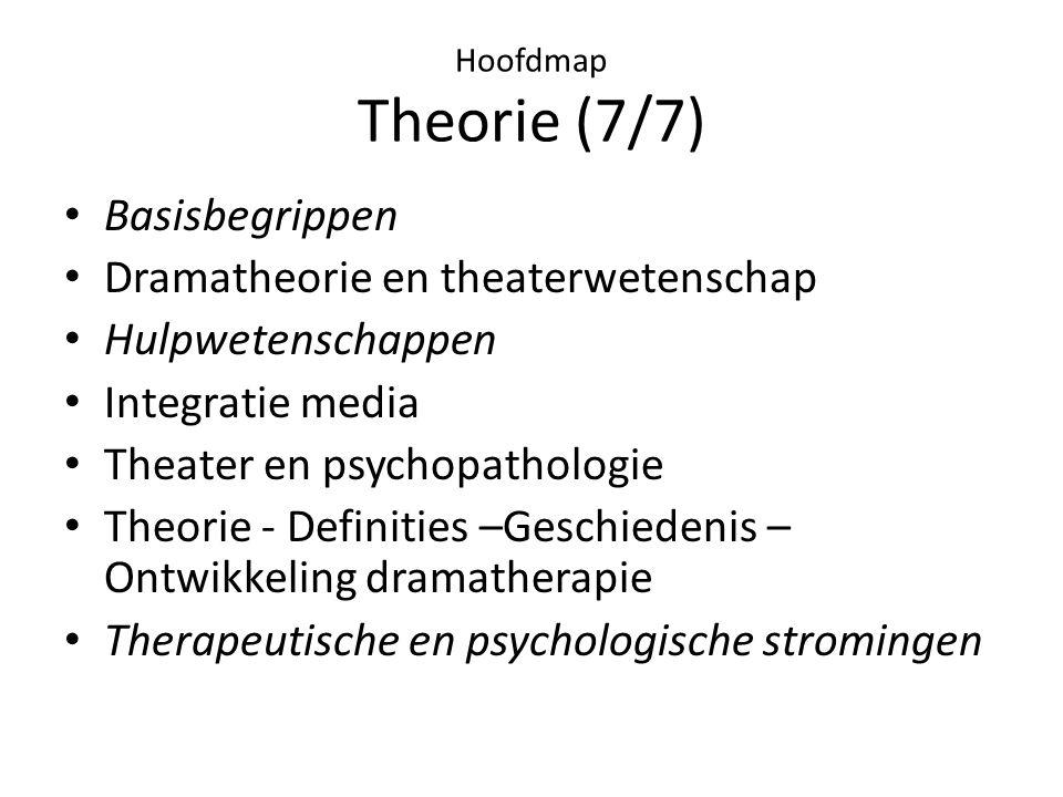 Hoofdmap Theorie (7/7) • Basisbegrippen • Dramatheorie en theaterwetenschap • Hulpwetenschappen • Integratie media • Theater en psychopathologie • Theorie - Definities –Geschiedenis – Ontwikkeling dramatherapie • Therapeutische en psychologische stromingen
