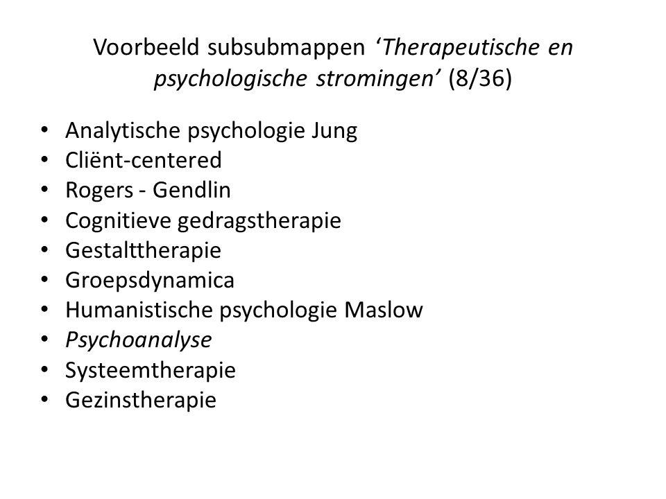 Voorbeeld subsubmappen 'Therapeutische en psychologische stromingen' (8/36) • Analytische psychologie Jung • Cliënt-centered • Rogers - Gendlin • Cognitieve gedragstherapie • Gestalttherapie • Groepsdynamica • Humanistische psychologie Maslow • Psychoanalyse • Systeemtherapie • Gezinstherapie