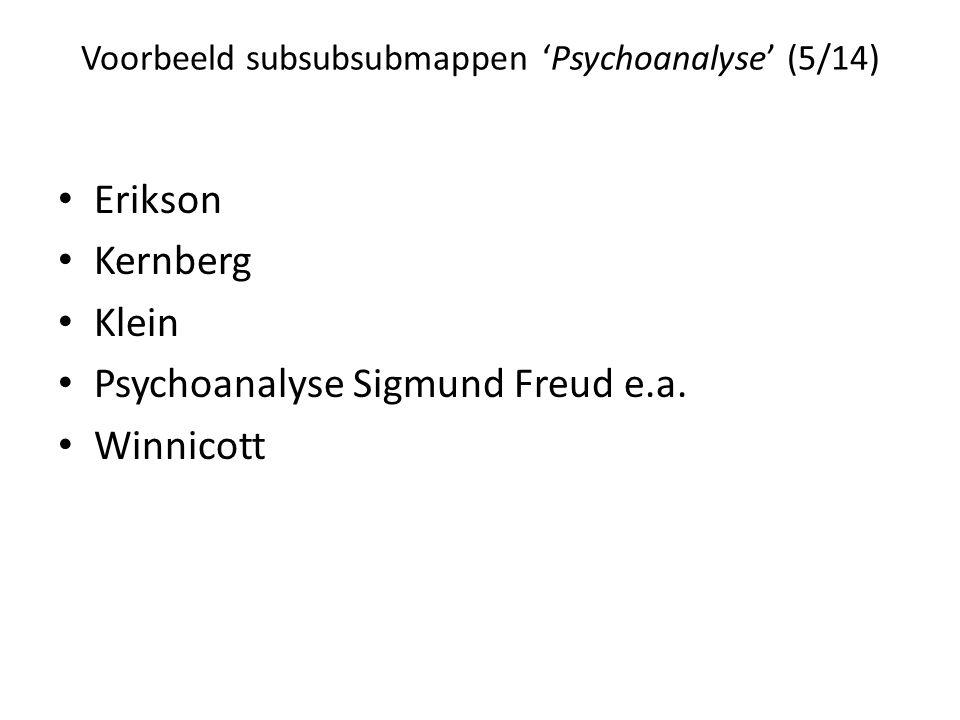 Voorbeeld subsubsubmappen 'Psychoanalyse' (5/14) • Erikson • Kernberg • Klein • Psychoanalyse Sigmund Freud e.a.