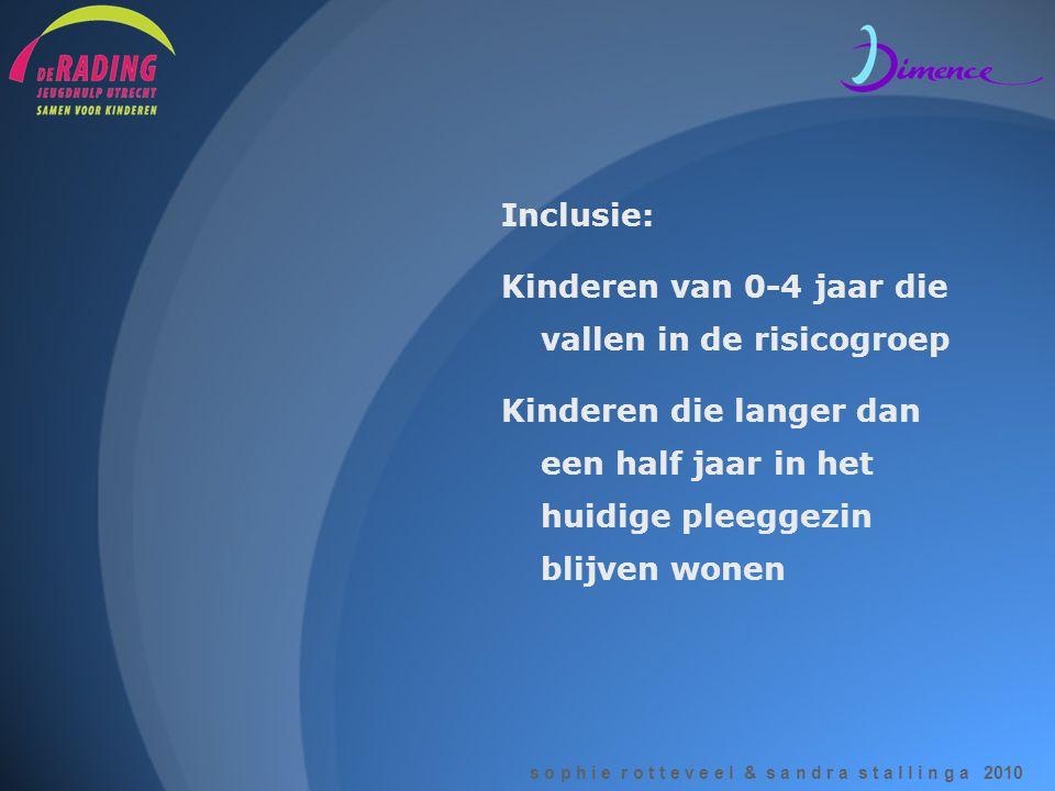s o p h i e r o t t e v e e l & s a n d r a s t a l l i n g a 2010 Inclusie: Kinderen van 0-4 jaar die vallen in de risicogroep Kinderen die langer da