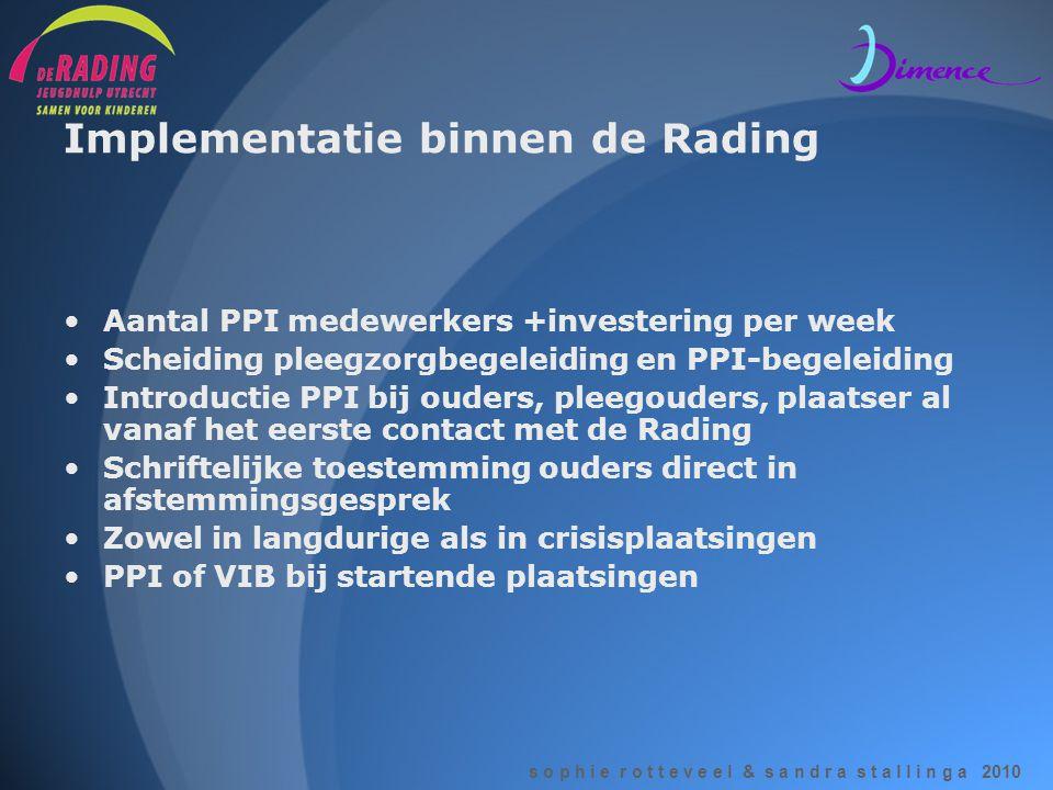 s o p h i e r o t t e v e e l & s a n d r a s t a l l i n g a 2010 Implementatie binnen de Rading •Aantal PPI medewerkers +investering per week •Schei