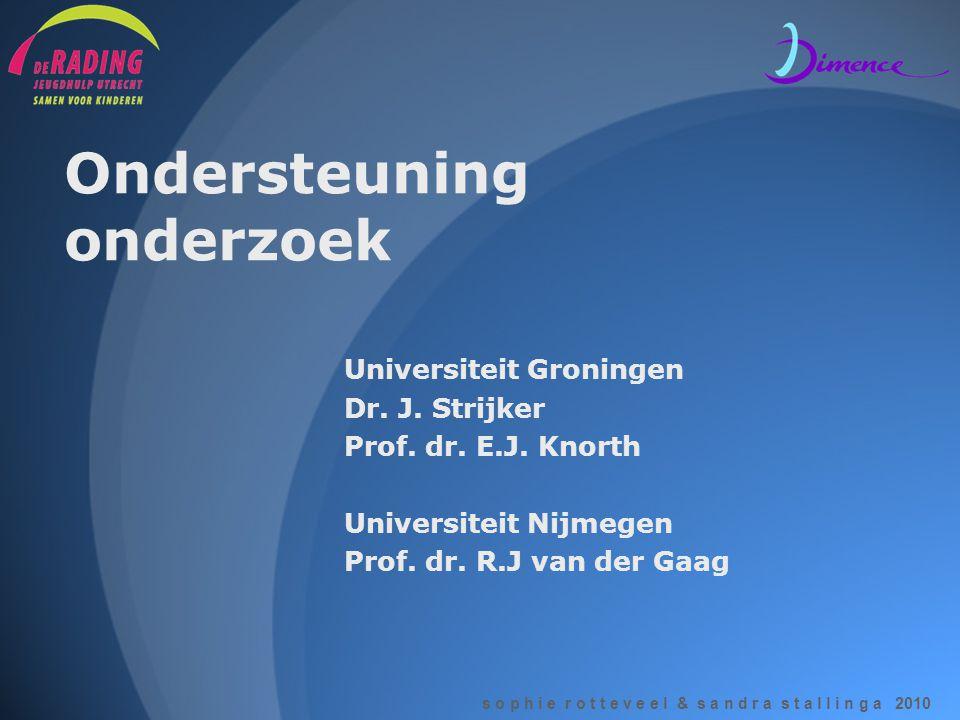 s o p h i e r o t t e v e e l & s a n d r a s t a l l i n g a 2010 Ondersteuning onderzoek Universiteit Groningen Dr. J. Strijker Prof. dr. E.J. Knort