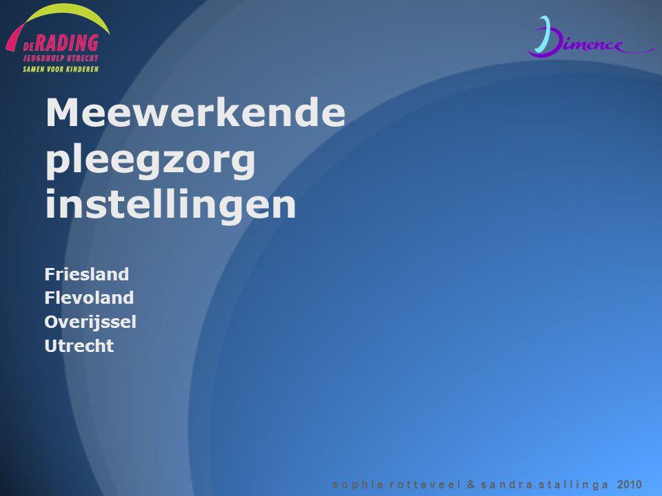 s o p h i e r o t t e v e e l & s a n d r a s t a l l i n g a 2010 Meewerkende pleegzorg instellingen Friesland Flevoland Overijssel Utrecht
