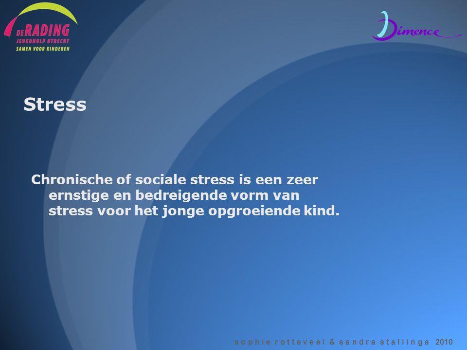 s o p h i e r o t t e v e e l & s a n d r a s t a l l i n g a 2010 Stress Chronische of sociale stress is een zeer ernstige en bedreigende vorm van st