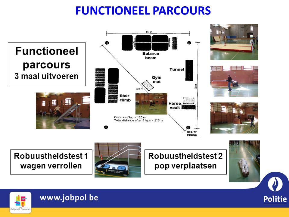 Robuustheidstest 1 wagen verrollen Robuustheidstest 2 pop verplaatsen Functioneel parcours 3 maal uitvoeren FUNCTIONEEL PARCOURS