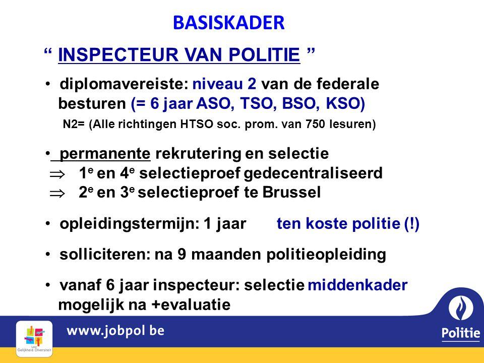 • diplomavereiste: niveau 2 van de federale besturen (= 6 jaar ASO, TSO, BSO, KSO) N2= (Alle richtingen HTSO soc.