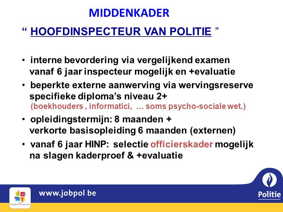 • interne bevordering via vergelijkend examen vanaf 6 jaar inspecteur mogelijk en +evaluatie • beperkte externe aanwerving via wervingsreserve specifi