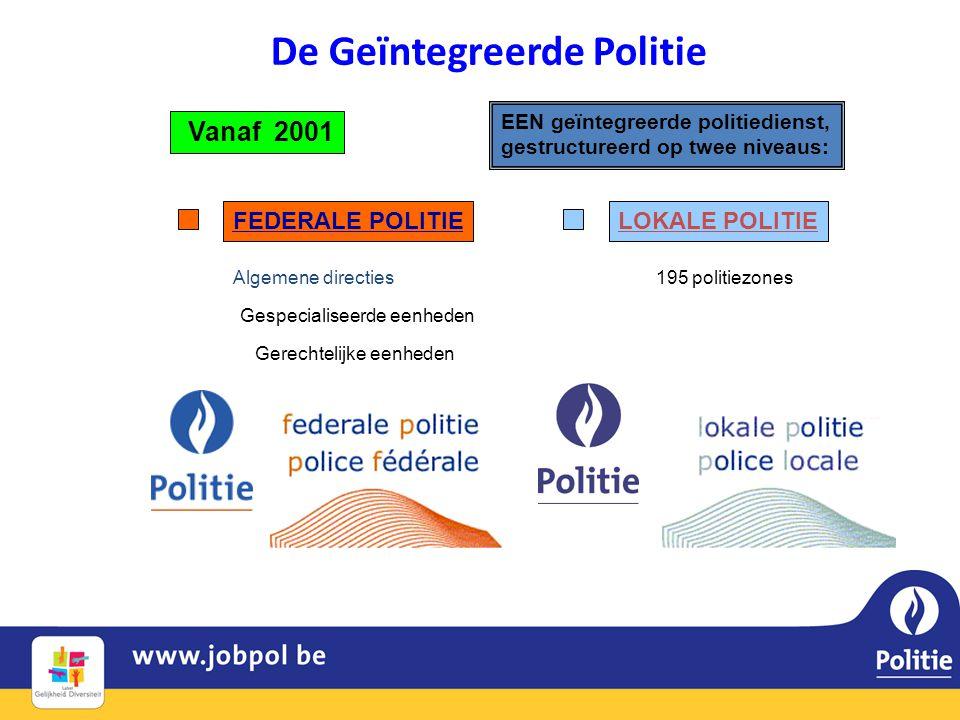 Vanaf 2001 EEN geïntegreerde politiedienst, gestructureerd op twee niveaus: LOKALE POLITIEFEDERALE POLITIE Algemene directies Gerechtelijke eenheden Gespecialiseerde eenheden 195 politiezones De Geïntegreerde Politie