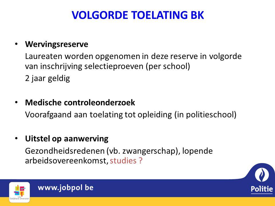 VOLGORDE TOELATING BK • Wervingsreserve Laureaten worden opgenomen in deze reserve in volgorde van inschrijving selectieproeven (per school) 2 jaar ge