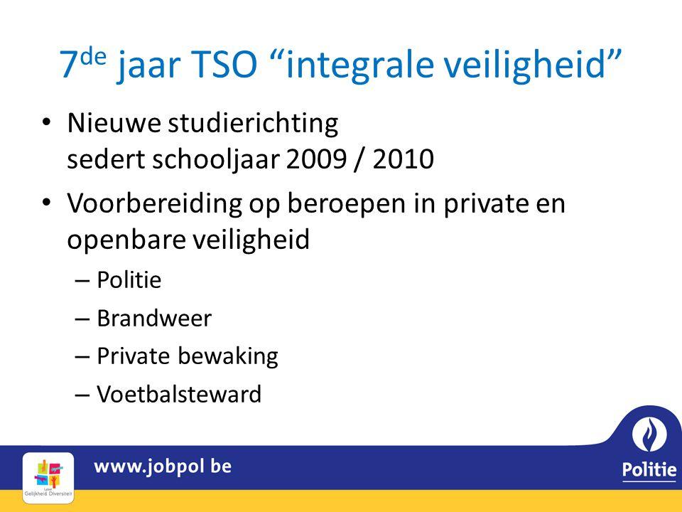 7 de jaar TSO integrale veiligheid • Nieuwe studierichting sedert schooljaar 2009 / 2010 • Voorbereiding op beroepen in private en openbare veiligheid – Politie – Brandweer – Private bewaking – Voetbalsteward