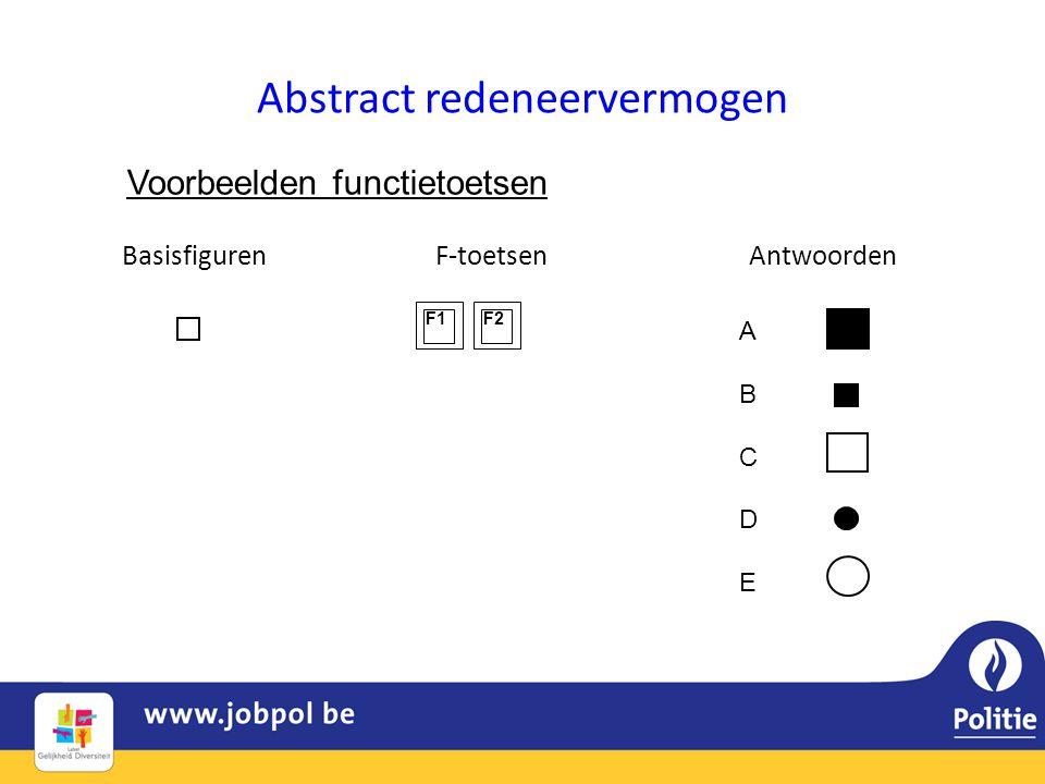 Abstract redeneervermogen BasisfigurenF-toetsenAntwoorden Voorbeelden functietoetsen F1F2 ABCDEABCDE